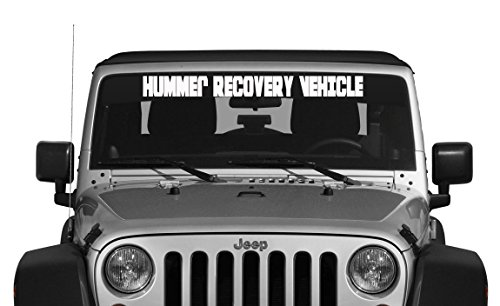 Hummer Recovery Vehicle Jeep Windshield Decal (White) (Hummer Windshield Decals compare prices)