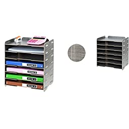 NATAMO Wooden Paper Storage for A4/A3 Paper 7 Floors,Grey grid
