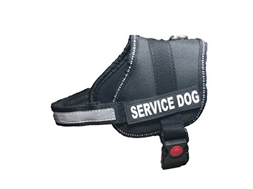 ALBCORP Reflective Service Dog Vest / Harness, Woven Polyester & Nylon, Neoprene Padding, XXS, BLACK (Ada Clear Super compare prices)