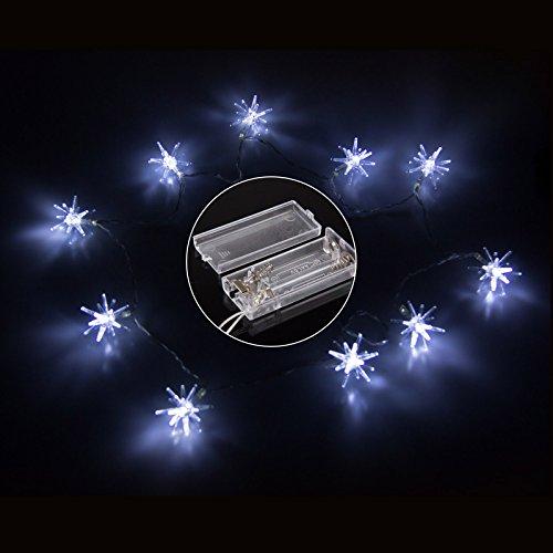 Lemonbest® 10 Led Star String Light Lamp Battery Power Operated Fairy Lights Led Light Stars For Christmas Parties Weddings Family (Cool White, Pack Of Two)