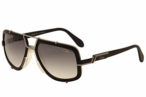 Cazal 656/3 Sunglasses 11SG Matte Black/Silver Frame Gray Gradient Lens