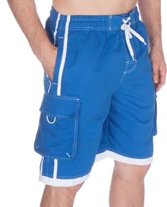 Sakkas NBM3097WS - Boardshort / Maillot de Bain Patins Hommes Couleur Foncée avec Rayures Contrastées - Bleu Royal / 5X-Large