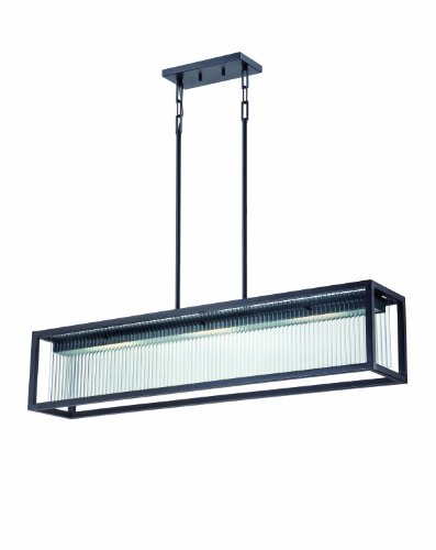 Nuvo Lighting 62/109 Bin LED Three Light Island Pendant 14.4 Watt 855 Lumens Soft White 2700K KolourOne Technology Clear Ribbed Glass Textured Black Fixture