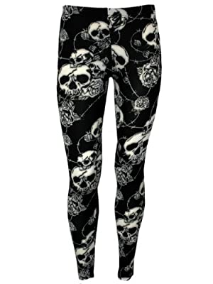Banned Women's Rose and Skull B&W Leggings Black & White