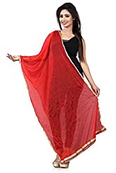 Jiya Prerents Stylish and Versatile Lycra Women's Dupatta(Red)