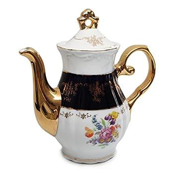Royal Porcelain 17pc Flower-Patterned Dark Blue Tea Set, 24K Gold-Plated Original Cobalt Tableware, Service for 6