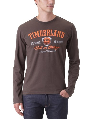 Timberland Long Sleeve  Linear Logo Men's T-Shirt Cocoa Small