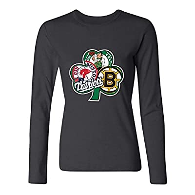 OneGod Women's BOSTON Fan Sport Flag Irish Celtics Red Sox Long Sleeve T Shirt XXL