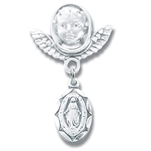 "Sterling Silver Tiny Oval Miraculous Guardian Angel Pin-Boxed 1""x1/2"" Infant Child Jewelry Baptism Patron Saint St. Medal Pendant Necklace In Gift Box"