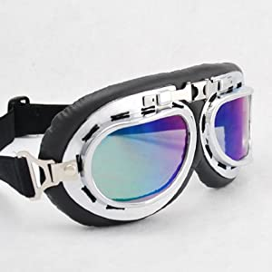 WWII RAF German Military Army Aviator Pilot Retro Style Sun UV Wind Eye Protect Goggles Mirror Lenses Chrome Frame Outdoor Camping Sledding Skating Hiking Motorcycle Fashion Gear