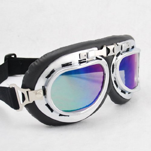 Vintage Style Military WWII RAF Pilot Chrome Plated Frame Reflective Dazzling Blue-Purple Lens Elastic Strap Padded Frost Free Unisex Men Women UV Goggles For Motorcycle Biker Helmet Decoration Ice Ski Snowboard Cross Country Skiing