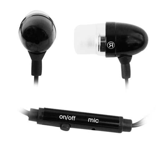 High Qulity In-Ear 3.5mm Stereo Headset Handsfree Soft Gel Earbud with Microphone - Metallic Black for HTC Google Nexus One 1 Cell Phone