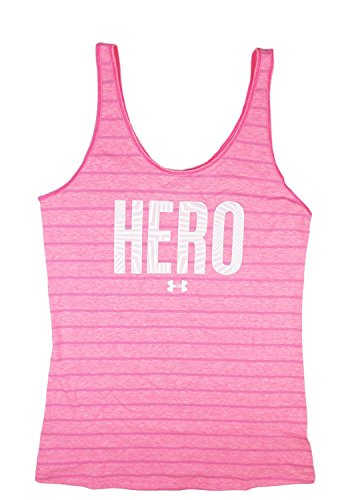 "Under Armour Women's UA Power In Pink ""Hero"" Striped Tank Top, Size Small"