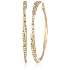 Jessica Simpson Gold Crystal Twist Earrings