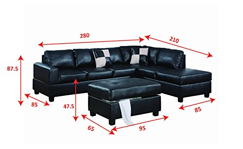 Bobkona Hampshire Collection 3-Piece Sectional Sofa, Black