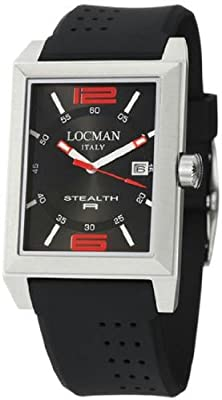Men's Stainless Steel Stealth R Quartz Black Dial Rubber Strap