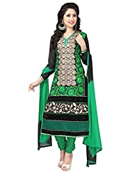 Decent World Green Net Designer Dress Material
