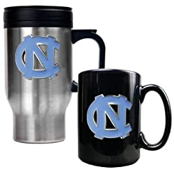 North Carolina Tar Heels - UNC Stainless Steel Travel Mug & Ceramic Mug Set NCAA College Athletics