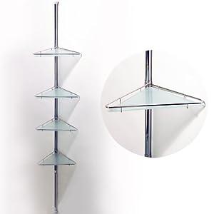Pole extending four tier metal glass corner wall shelf - Etagere angle salle de bain telescopique ...