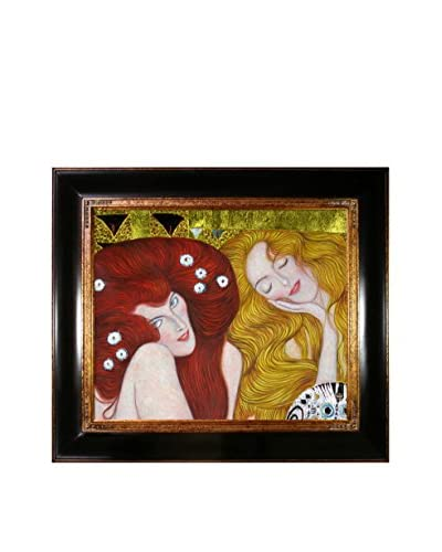 Gustav Klimt Beethoven Frieze Hand-Painted Reproduction with Gold Foil