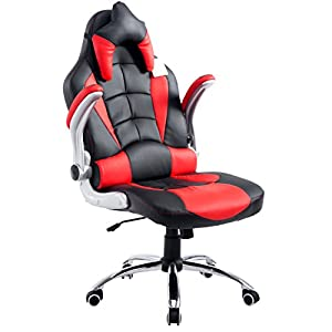 CTF High Back Racing Sport Swivel Chair with Adjustable Armrests & Headrest Cushion (Black & Red)