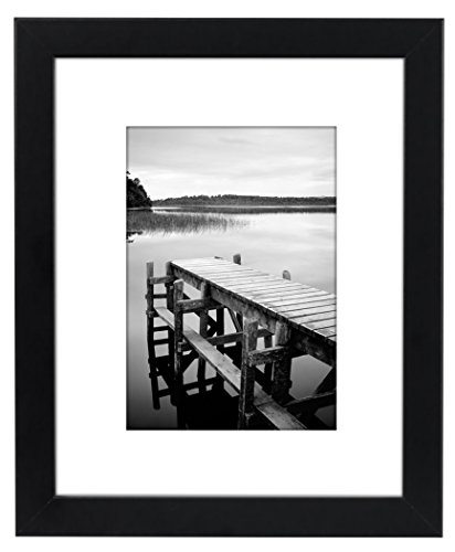 8x10 Black Picture Frame - Made to Display Pictures 5x7 with Mat or 8x10 Without Mat (7 X 10 Frame compare prices)