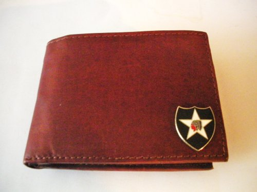 2Nd Infantry Division Brown Cowhide Bi-Fold Leather Wallet