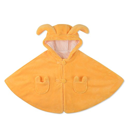 Baby Clothes Cloak Baby Kids Warm Hood Cape Coat 100cm (0-6years baby) (Yellow)
