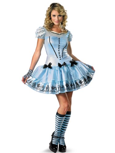 Sexy Alice in Wonderland Costume Blue Dress Gloves Womens Theatrical Costume