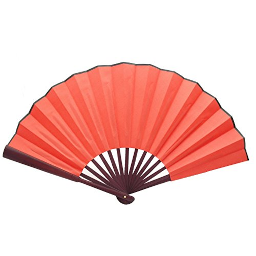TrendBox Chinese Traditional Nylon-Cloth Handheld Folding Fan For Pratice Performance Dancing Ball Parties Unisex - Red
