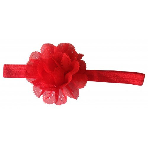 PinkXenia Wavy Edge Hollow Out Red Flower soft Elastic Newborn Headband