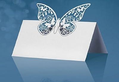 Tischkarten weiß Schmetterling gestanzt, 9 x 6,5 cm, 10 Stück