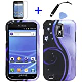 (4 items Combo: Stylus Pen, Screen Protector Film, Case Opener, Graphic Case) Purple Aurora Wave Black Night Snow White Flower Vine Design Rubberized Snap on Hard Shell Cover Faceplate Skin Phone Case for (T-Mobile) Samsung Galaxy S2 / SII/ II/ 2 / T989