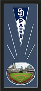San Diego Padres Wool Felt Mini Pennant & Petco Park 2011 Photo - Framed With... by Art and More, Davenport, IA