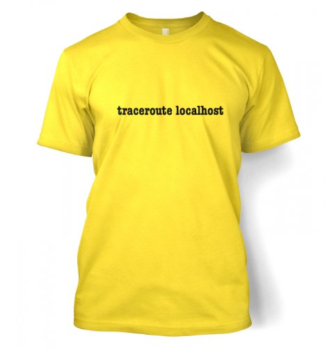 Something Geeky PP – Traceroute Localhost T-shirt  Daisy Yellow