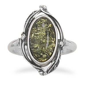 Sterling Silver Oval Green Amber Ring with Leaf Design / Size 10