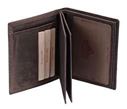 Avanco Men's Leather ID Card Holder 4.7 x 3.5 x 0.4 inch Dark Brown