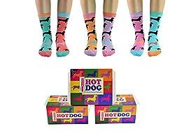 Hot Dog - United Oddsocks - Box 6 Oddsocks For Women UK 4-8