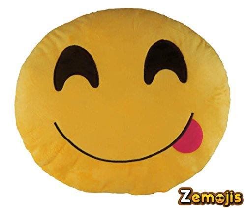 Zemojis Emoticon Soft Stuffed Cushion Emoji Throw Pillows (Face Savoring Delicious Food)