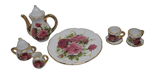 1:6 Scale 10 Piece Mini Dollhouse Size Rose Floral Tea Set with Teapot, Sugar, Creamer, Two Cups and Saucers, and Plate