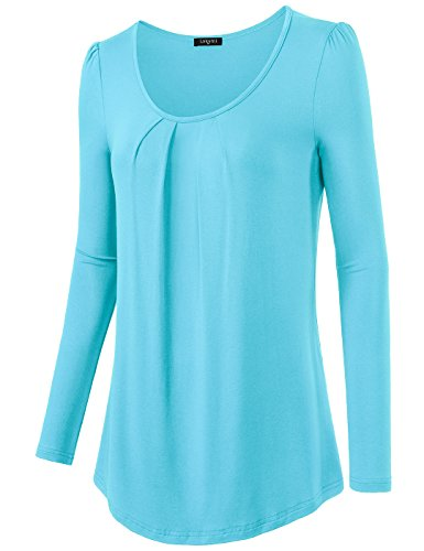 Women's Fashion Long Sleeve Round Neck Tee Tank Top Shirt, M Aqua Blue