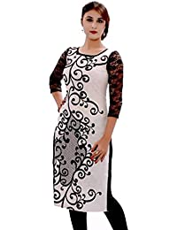 Clickedia Women's Cotton Black & White Long Kurta - 100% Cotton