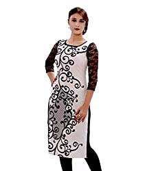 Clickedia Women's Cotton Long Kurta (White Kurti_Black White)