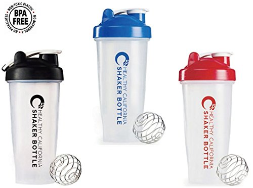 Healthy California Shaker / Blender Bottle - Blue, Black, Red 28 ounce - Shaker Bottle Perfect for mixing for Protein Shakes, Pancakes, Scramble Eggs & Smoothies! (3 Pack) (Perfect For Mixing compare prices)