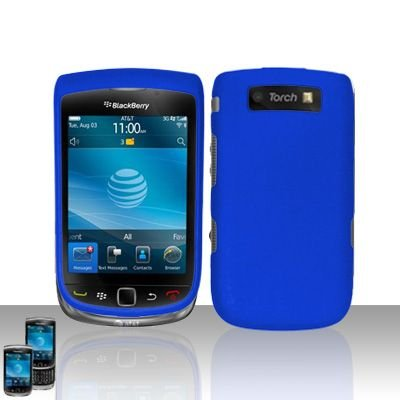 Blackberry 9800 Torch Premium Navy Blue Snap-on Phone Protector Hard Cover Case + Bonus 5.5 inch Baby Blue Phone Cleaning Cloth