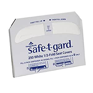 """Georgia-Pacific Safe-T-Gard 47052 White 1/2-Fold Toilet Seat Cover, 17.44"""" Length x 14.5"""" Width (1 Pack, 250 Per Pack)"""