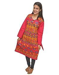 Baa Creation Women's Cotton A-Line Kurti (BAAKUT13_Pink_XX-Large)