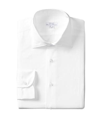 Orian Men's Slim Fit Washed Spread Collar Twill Solid Dress Shirt