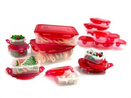 Lock & Lock Airtight Bpa-Free 32-Piece Set : Red Lids