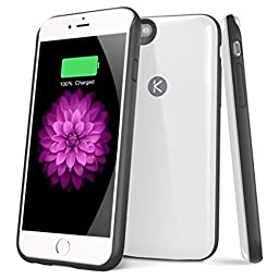 Kotech iPhone 6 6s Battery Case Ultra Slim Extended Charging Case External Battery Case Portable Charger for iPhone 6 6S 4.7 inch with 2400mAh(White)